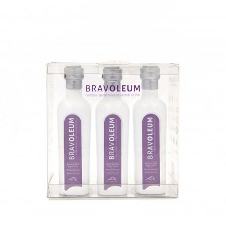 BRAVOLEUM ARBEQUINA ESTUCHE TRIPLE 3 x 100ML(Caja 5 estuches)